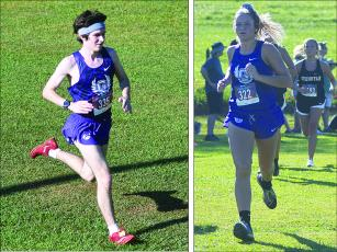 Gilmer High's Jakob Dobbs (left) and Naomi Coombs (right) both ran at last Tuesday's North Georgia Championships. Dobbs placed 10th in the boys race while Coombs was fourth among the girls.