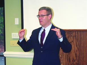 Shawn Conroy, of the Georgia Attorney General's Office, talks about phone, mail and internet scams making the rounds during a senior issues workshop presented by Gilmer Family Connection Wednesday, Oct. 16.