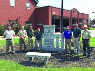 Members of a newly formed fire prevention education team comprised of personnel from the Georgia Forestry Commission (GFC) and U.S. Forest Service (USFS) are pictured outside the team's headquarters, the Dalton Fire Department. From left: Seth Hawkins (GFC), Anthony English (GFC), Mark Wiles (USFS), Stasia Kelly (GFC), Shawn Alexander (USFS), Keith Moss (GFC) and Mike Davis (USFS).