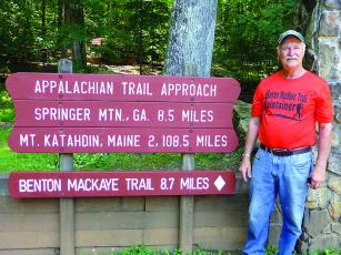 Ralph Heller is pictured at the start of the approach trail to the Appalachian Trail. The location is at the visitor center at Amicalola State Park.