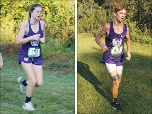 Gilmer High School cross-country runners Madison Stanley (left) and Dylan Byrd (right) were top-five finishers for the Lady Cats and Bobcats at last Thursday's Mountain Invitational.