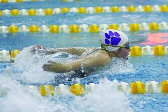 Gilmer Lady Cat Aniston Fowler won the 100-yard butterfly at last week's meet in Adairsville.