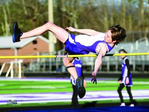 "Ayden Fountain clears 5' 2"" in the high jump during last Thursday's home track meet against Southeast Whitfield and Union County."