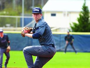 Gilmer High alum Brooks Rosser pitches for Truett McConnell University and earned a win against No. 1 Tennessee Wesleyan Feb. 29.