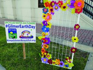 In recognition of Earth Day, an upcycled project created by local artist Nancy Brown and members of Stay Active Ellijay was on display in front of the Gilmer County Courthouse.