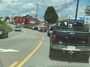 Judy Wilson of Hometown Florist & Yesterday's Decor Furniture snapped this photo of the traffic coming into downtown Ellijay Sunday morning.