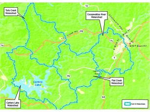 The project area for the Coosawattee River-Carters Lake Watershed Management Plan is highlighted in blue on the above map.
