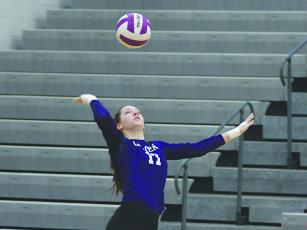 Adrian Thompson serves for the Lady Cats and had two aces versus Lumpkin County last week.