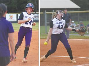 Robbie Bills/Sports Editor At left, Lady Cat Macy Hamby greets GHS head coach Amanda Mullis as she rounds third base following a three-run homer against Cherokee Bluff last Wednesday. At right is winning pitcher Isabella Chastain, who also collected three hits on the day.