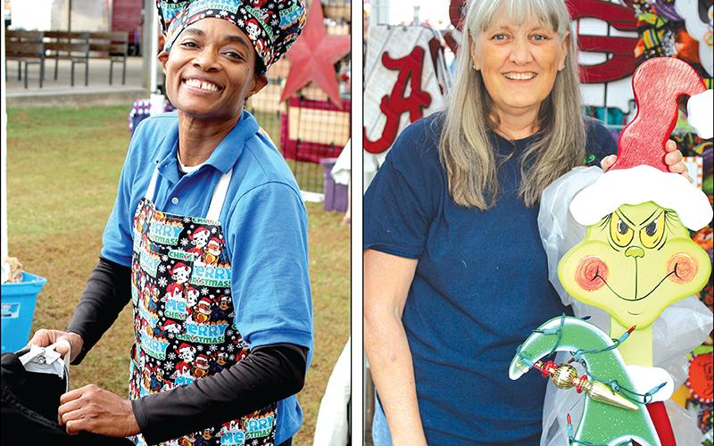 Left, Cicily Sykes, of Powder Springs, sets up shop at the Springs BBQ Affairs booth before the Apple Festival gets underway. Right, Pat Lewis, proprietor of Crafts by Pat, traveled from Covington to set up her Apple Festival booth with help from the Grinch.
