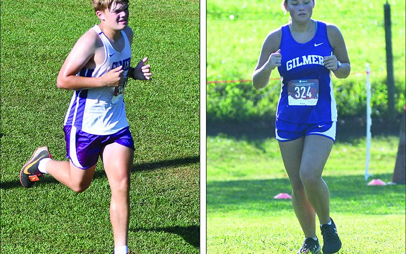Gilmer High cross-country runners Jon Nix (left) and Chloe Hensley (right) helped the Bobcats and Lady Cats to respective first- and second-place finishes last week.