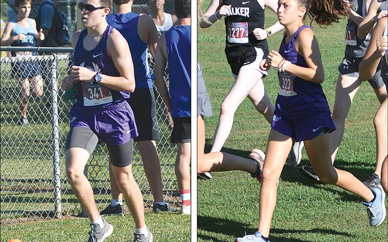 From left, are Bobcat Austin Long and Lady Cat Helana Garland. They were Gilmer's top cross-country runners at the Class 4A state meet last Friday.