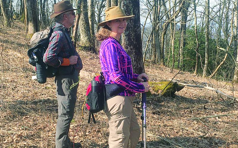 Steve Pruett and Sara Stembridge enjoy a recent Benton MacKaye Trail Association hike of the Wagon Train Trail at Brasstown Bald.