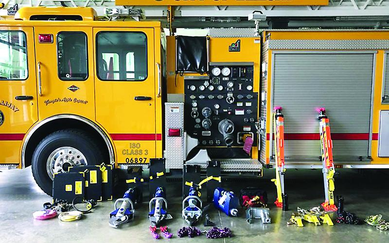 Pictured is new vehicle extrication equipment recently received by the Ellijay Fire Department. The equipment purchase was funded by an Assistance to Firefighters Grant from the Federal Emergency Management Agency (FEMA).