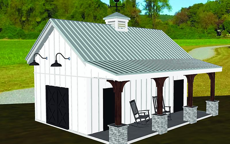 A rendering shows a preliminary exterior design for bathrooms to be constructed at Harrison Park.