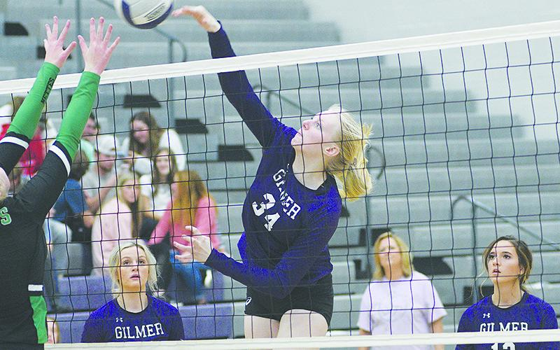 Lady Cat Taylor McCormick (34) had seven kills for Gilmer High last week.