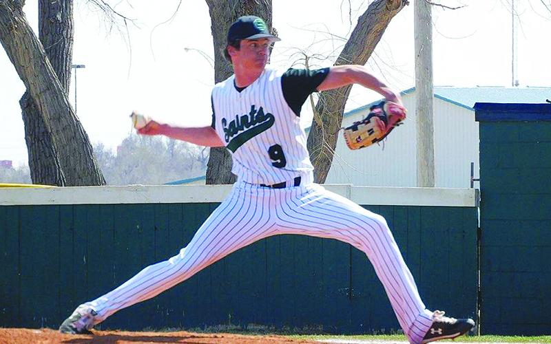 2018 Gilmer High School graduate Eric Turner pitches for the Seward County Community College Saints last spring, and their new season is set to start next month.