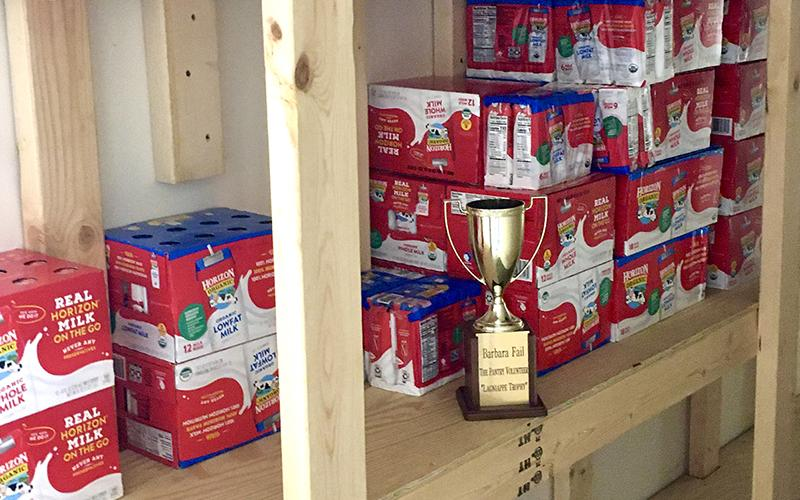 The Gilmer Community Food Pantry thanked everyone who recently donated shelf-stable milk boxes for use in its Sack Pack program by presenting a rotating volunteer trophy to the citizens of Gilmer County.